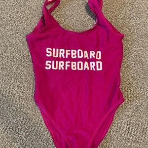 Other - Pink printed SURFBOARD one piece swimwear
